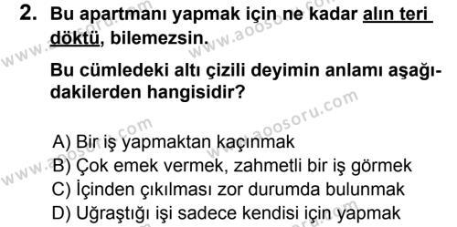 Türkçe 6 Dersi 2012 - 2013 Yılı 2. Dönem Sınavı 2. Soru