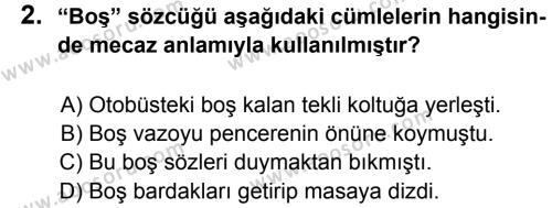 Türkçe 6 Dersi 2012 - 2013 Yılı 3. Dönem Sınavı 2. Soru