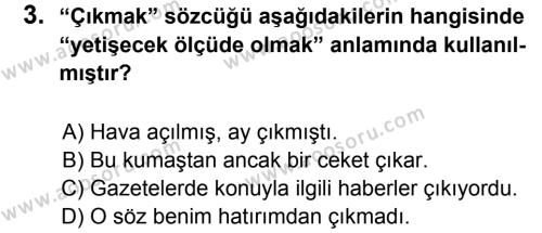 Türkçe 6 Dersi 2012 - 2013 Yılı 3. Dönem Sınavı 3. Soru