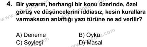 Türkçe 6 Dersi 2012 - 2013 Yılı 3. Dönem Sınavı 4. Soru