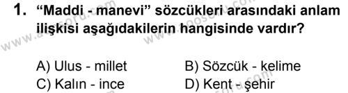 Türkçe 6 Dersi 2013 - 2014 Yılı 1. Dönem Sınavı 1. Soru