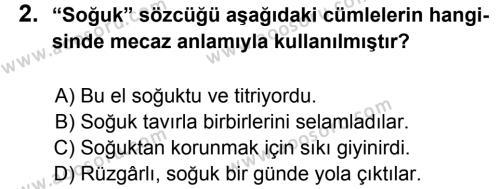 Türkçe 6 Dersi 2013 - 2014 Yılı 1. Dönem Sınavı 2. Soru