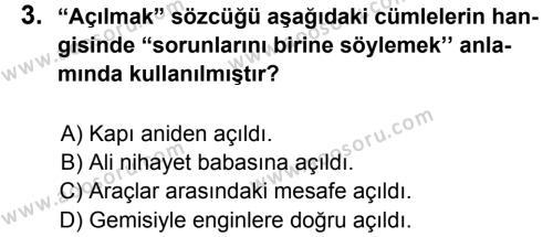 Türkçe 6 Dersi 2013 - 2014 Yılı 1. Dönem Sınavı 3. Soru