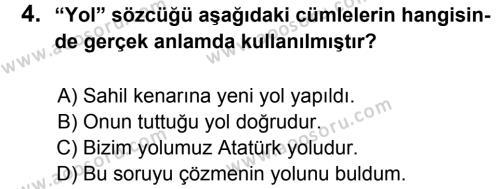 Türkçe 6 Dersi 2013 - 2014 Yılı 1. Dönem Sınavı 4. Soru