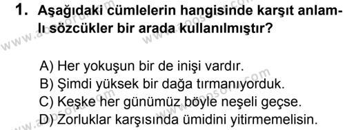 Türkçe 6 Dersi 2013 - 2014 Yılı 2. Dönem Sınavı 1. Soru