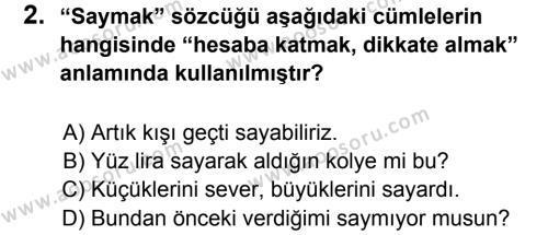 Türkçe 6 Dersi 2013 - 2014 Yılı 2. Dönem Sınavı 2. Soru