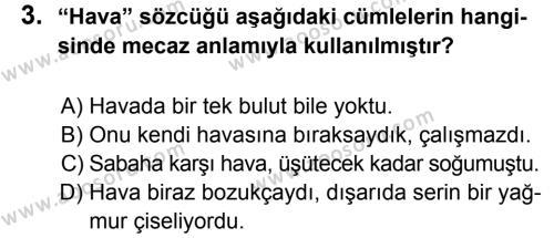 Türkçe 6 Dersi 2013 - 2014 Yılı 2. Dönem Sınavı 3. Soru