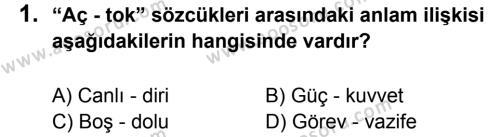 Türkçe 6 Dersi 2013 - 2014 Yılı 3. Dönem Sınavı 1. Soru