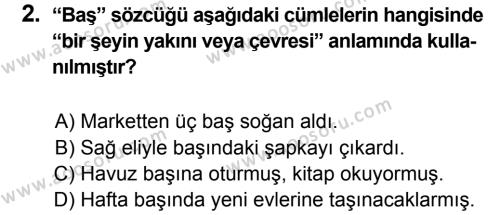 Türkçe 6 Dersi 2013 - 2014 Yılı 3. Dönem Sınavı 2. Soru
