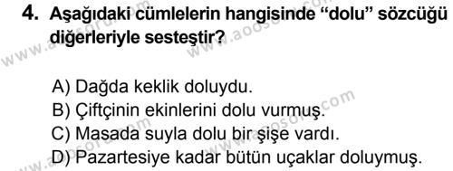 Türkçe 6 Dersi 2013 - 2014 Yılı 3. Dönem Sınavı 4. Soru