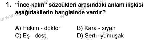 Türkçe 6 Dersi 2014 - 2015 Yılı 1. Dönem Sınavı 1. Soru