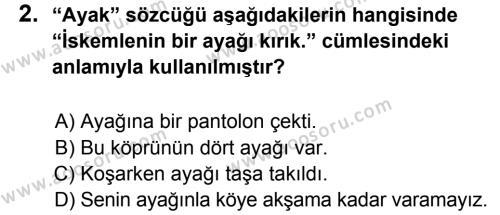 Türkçe 6 Dersi 2014 - 2015 Yılı 1. Dönem Sınavı 2. Soru