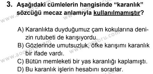Türkçe 6 Dersi 2014 - 2015 Yılı 1. Dönem Sınavı 3. Soru