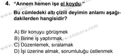 Türkçe 6 Dersi 2014 - 2015 Yılı 1. Dönem Sınavı 4. Soru