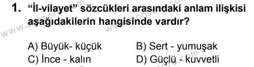 Türkçe 6 Dersi 2014 - 2015 Yılı 2. Dönem Sınavı 1. Soru