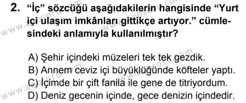 Türkçe 6 Dersi 2014 - 2015 Yılı 2. Dönem Sınavı 2. Soru