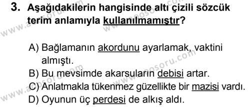 Türkçe 6 Dersi 2014 - 2015 Yılı 2. Dönem Sınavı 3. Soru