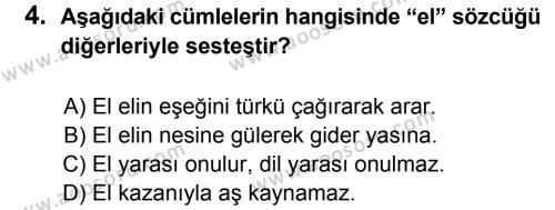 Türkçe 6 Dersi 2014 - 2015 Yılı 2. Dönem Sınavı 4. Soru