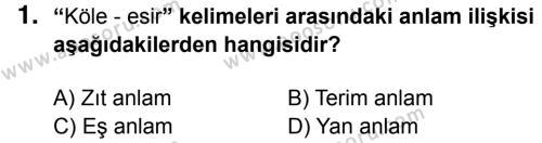 Türkçe 6 Dersi 2014 - 2015 Yılı 3. Dönem Sınavı 1. Soru
