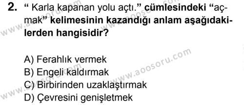 Türkçe 6 Dersi 2014 - 2015 Yılı 3. Dönem Sınavı 2. Soru