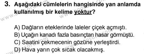 Türkçe 6 Dersi 2014 - 2015 Yılı 3. Dönem Sınavı 3. Soru