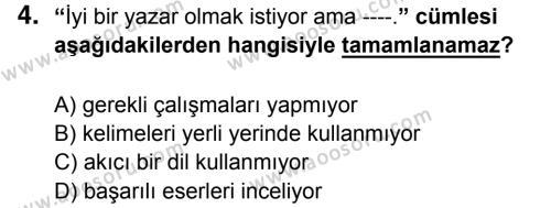 Türkçe 6 Dersi 2014 - 2015 Yılı 3. Dönem Sınavı 4. Soru