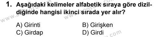 Türkçe 6 Dersi 2015 - 2016 Yılı 1. Dönem Sınavı 1. Soru
