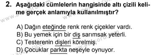 Türkçe 6 Dersi 2015 - 2016 Yılı 1. Dönem Sınavı 2. Soru