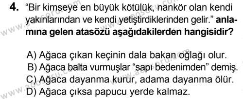 Türkçe 6 Dersi 2015 - 2016 Yılı 1. Dönem Sınavı 4. Soru