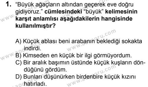 Türkçe 6 Dersi 2015 - 2016 Yılı 2. Dönem Sınavı 1. Soru