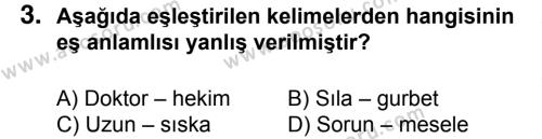 Türkçe 6 Dersi 2015 - 2016 Yılı 2. Dönem Sınavı 3. Soru