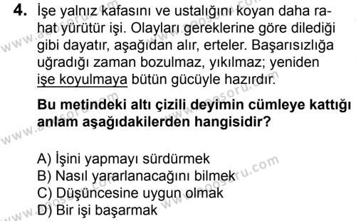 Türkçe 6 Dersi 2015 - 2016 Yılı 2. Dönem Sınavı 4. Soru