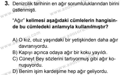Türkçe 6 Dersi 2015 - 2016 Yılı 3. Dönem Sınavı 3. Soru