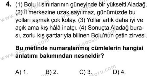 Türkçe 6 Dersi 2015 - 2016 Yılı 3. Dönem Sınavı 4. Soru