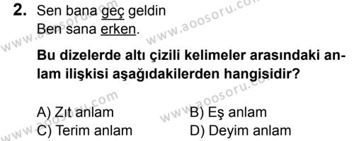 Türkçe 6 Dersi 2016 - 2017 Yılı 1. Dönem Sınavı 2. Soru
