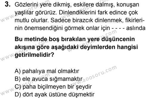 Türkçe 6 Dersi 2016 - 2017 Yılı 1. Dönem Sınavı 3. Soru