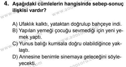 Türkçe 6 Dersi 2016 - 2017 Yılı 1. Dönem Sınavı 4. Soru