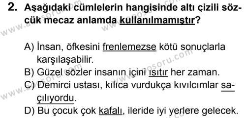 Türkçe 6 Dersi 2016 - 2017 Yılı 3. Dönem Sınavı 2. Soru