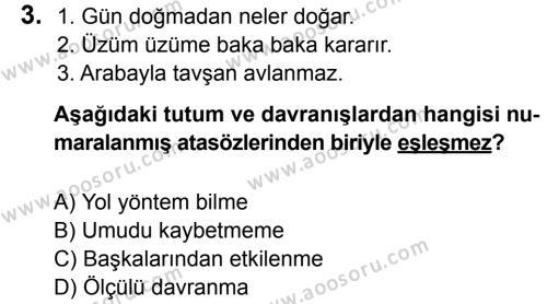 Türkçe 6 Dersi 2016 - 2017 Yılı 3. Dönem Sınavı 3. Soru