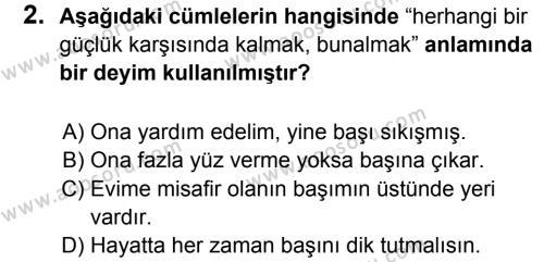 Türkçe 6 Dersi 2017 - 2018 Yılı 1. Dönem Sınavı 2. Soru