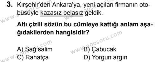 Türkçe 6 Dersi 2017 - 2018 Yılı 1. Dönem Sınavı 3. Soru