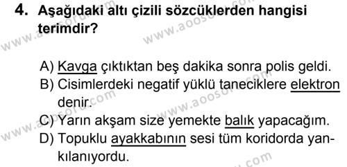 Türkçe 6 Dersi 2017 - 2018 Yılı 1. Dönem Sınavı 4. Soru