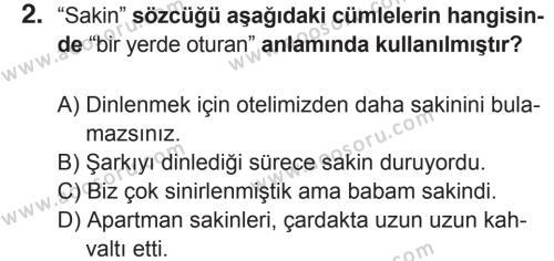 Türkçe 6 Dersi 2017 - 2018 Yılı 2. Dönem Sınavı 2. Soru