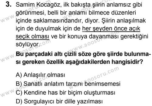 Türkçe 6 Dersi 2018 - 2019 Yılı 1. Dönem Sınavı 3. Soru