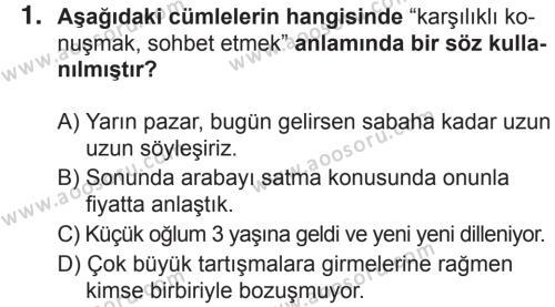 Türkçe 6 Dersi 2018 - 2019 Yılı 2. Dönem Sınavı 1. Soru