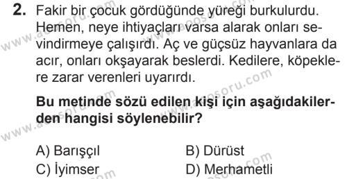 Türkçe 6 Dersi 2018 - 2019 Yılı 2. Dönem Sınavı 2. Soru