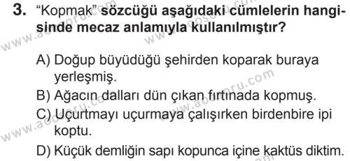Türkçe 6 Dersi 2018 - 2019 Yılı 2. Dönem Sınavı 3. Soru