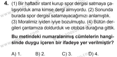 Türkçe 6 Dersi 2018 - 2019 Yılı 2. Dönem Sınavı 4. Soru
