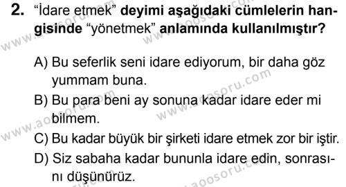 Türkçe 6 Dersi 2018 - 2019 Yılı 3. Dönem Sınavı 2. Soru