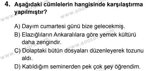 Türkçe 6 Dersi 2018 - 2019 Yılı 3. Dönem Sınavı 4. Soru